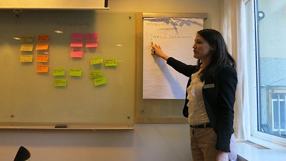 SIS projektledare Lovisa sammanställer ett virrvarr av önskemål kring intressenter och mål