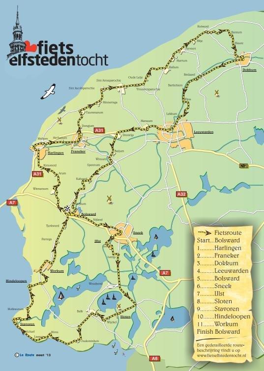 Route Elfstedentocht Fiets 2015