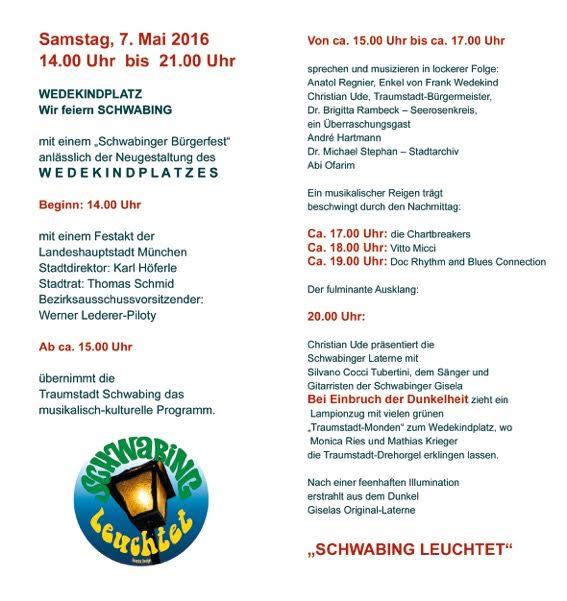 Programm 2 Bürgerfest Wedekindplatz Schwabing