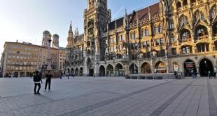 Verwaister Marienplatz München während der Coronakrise