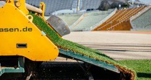 Neuer Rollrasen im Olympiastadion München verlegt
