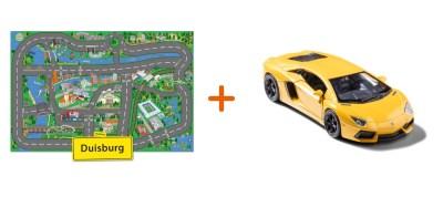 Combideal: stadtspielteppich Duisburg und Lamborghini Aventador Gelb