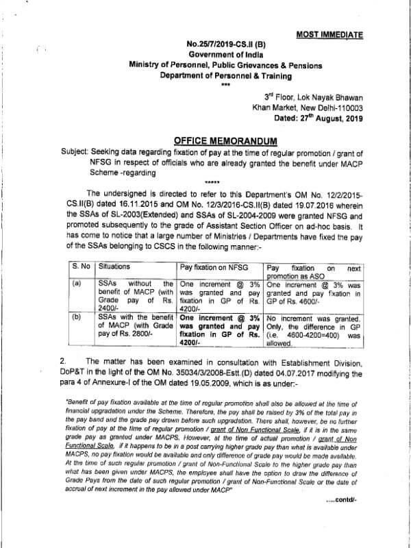 Fixation of pay at the time of regular promotion/NFSG i.r.o. officials who benefited under MACP Scheme: DoPTReminder-2