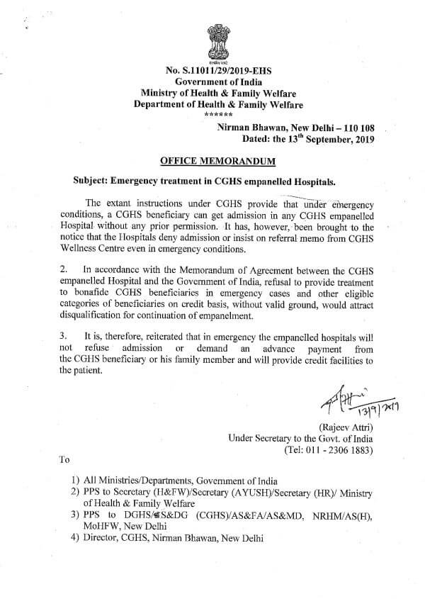 Emergency treatment in CGHS empanelled Hospitals on credit facility: CGHS OM