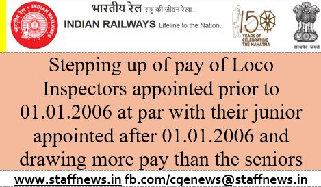 Stepping up of pay of Loco Inspectors appointed prior to 01.01.2006 at par with their junior appointed after 01.01.2006 and drawing more pay than the seniors :RBE No.07/2020