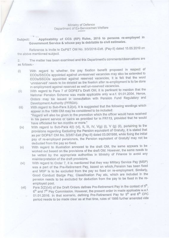 Applicability of CCS (RP) Rules, 2016 to persons re-employed in Government Service: MoD Note to DoPT i.r.o. re-employed ex-serviceman