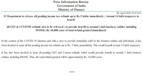 IT Deptt to release all pending Income Tax Refunds upto Rs.5 Lakh immediately – Around 14 Lakh taxpayers to benefit
