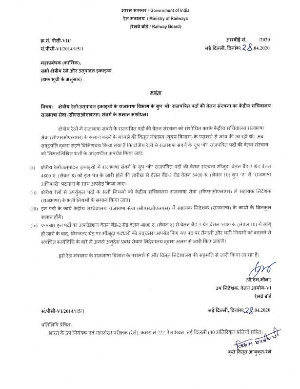 Revision of pay structure of Official Language Department of Zonal Railways/PUs