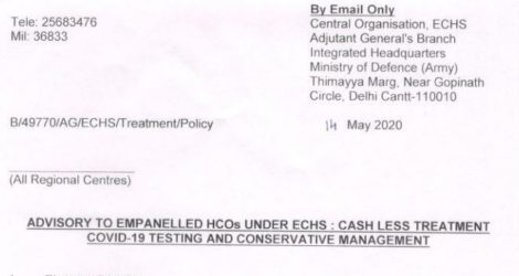 Cashless Treatment COVID-19 Testing and conservative management: Advisory to Empanelled HCOs under ECHS