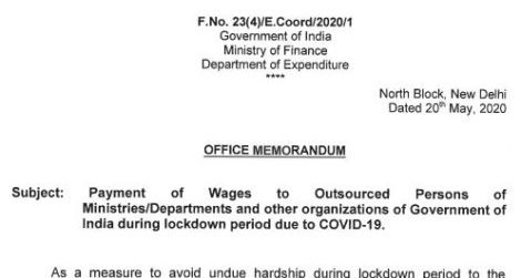 Pay Wages upto 31.05.2020 to Outsourced Persons of Ministries/Departments: Fin Min Orders