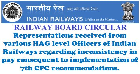 Inconsistency in pay consequent to implementation of 7th CPC i.r.o. HAG level Officers of Indian Railways