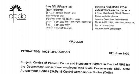 Choice of Pension Funds and Investment Pattern in Tier I of NPS for the Government subscribers (SG, SABs & CABs)