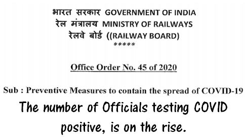 Precautionary Measures to contain the spread of COVID-19 in Railway Board's Officein view of Officials are testing COVID Positive