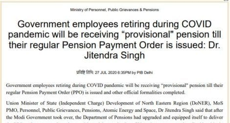 """""""Provisional Pension"""" and """"Provisional Gratuity"""" till the regular PPO issued during COVID Pandemic"""