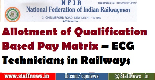 Allotment of Qualification Based Pay Matrix – ECG Technicians in Railways