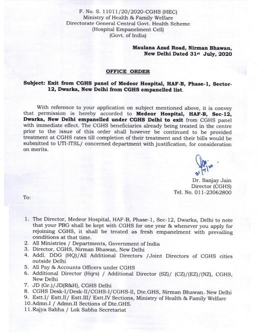 De-empanelment of Medeor Hospital, New Delhi from CGHS