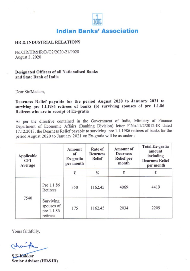 Dearness Relief payable for August to Jan 2021 to pre-1986 bank retirees