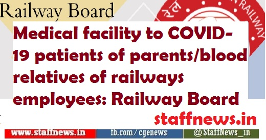 Medical facility to COVID-19 patients of parents/blood relatives of railways employees: Railway Board