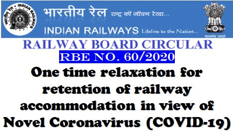 One time relaxation for retention of railway accommodation in view of Novel Coronavirus (COVID-19): RBE No. 60/2020