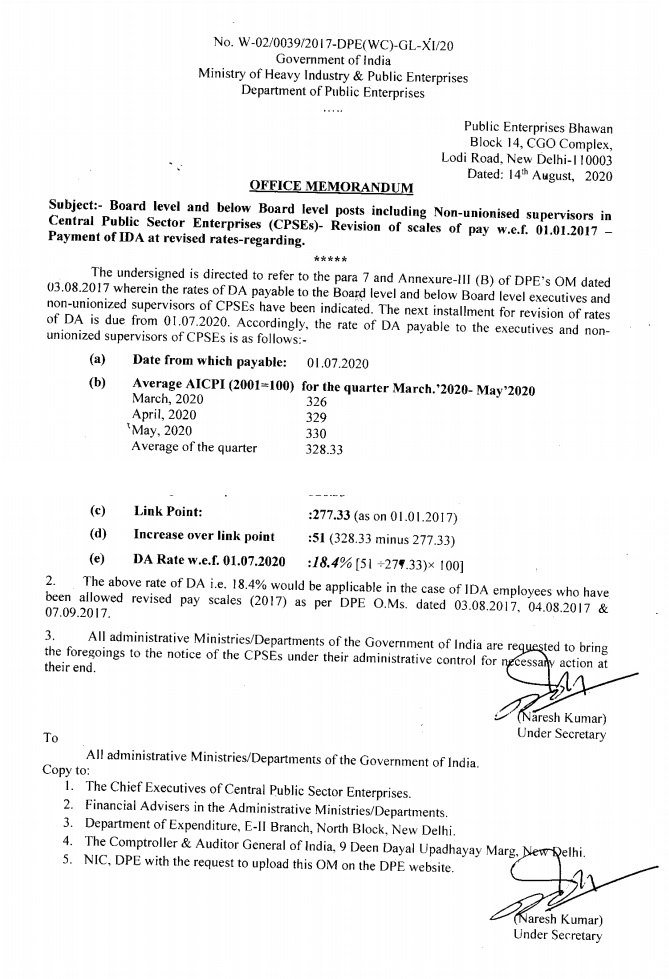 Payment of IDA at revised rates – Revision of scales of pay w.e.f. 01.01.2017: CPSEs