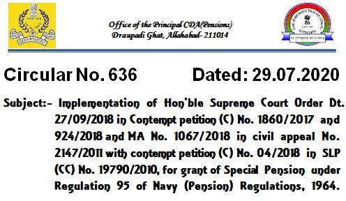 Special Pension under Regulation 95 of Navy (Pension) Regulations, 1964 – Implementation of Supreme Court Order: PCDA Circular No. 636