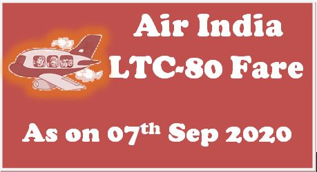 Air India Domestic LTC Fare List September 2020 as on 07.09.2020
