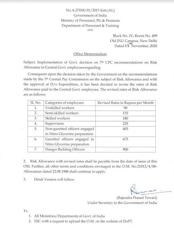 7th Central Pay Commission Risk Allowance to Central Govt. Employees – DoPT Order Dt 3 Nov 2020