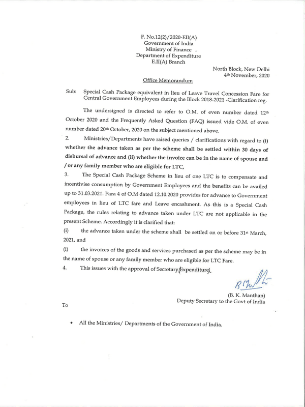 Special Cash Package equivalent in lieu of LTC Fare – Date of Settlement of Advance taken and Name on Invoice – Finmin Clarification dated 04-11-2020