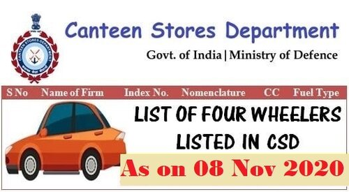 List of Four Wheelers – Diesel/Petrol Car, Jeep, SUV etc. listed in CSD as on 08.11.2020