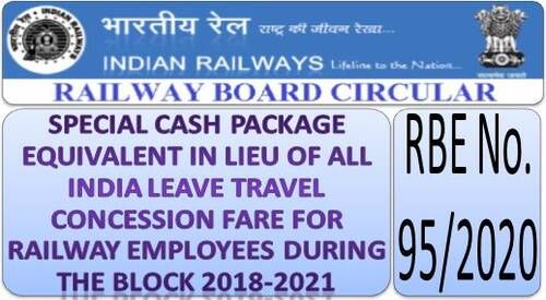 Special Cash Package equivalent in lieu of All India Leave Travel Concession Fare for Railway Employees during the Block 2018-2021: RBE No. 95/2020