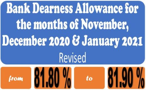 Dearness Allowance for Workmen and Officer Employees in Banks for the months of Nov, Dec 2020 and Jan 2021: Revised Order