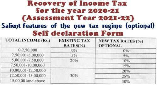 Recovery of Income Tax for the year 2020-21 (Assessment Year 2021-22) – Salient features of the new tax regime (optional) – Self declaration Form