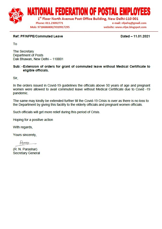 Grant of commuted leave without Medical Certificate to eligible officials