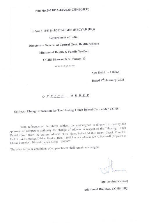 Change of location for The Healing Touch Dental Care under CGHS Delhi (4 Jan 2021)