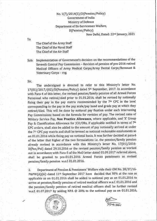 Seventh Central Pay Commission Revision of pension of Pre-2016 retired Medical Officers of Army Medical Corps/Army Dental Corps/Remount & Veterinary Corps: DESW Order 22.01.2021