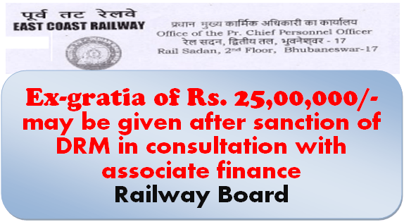 Ex-gratia of Rs. 25,00,000/- may be given after sanction of DRM in consultation with associate finance: Railway Board