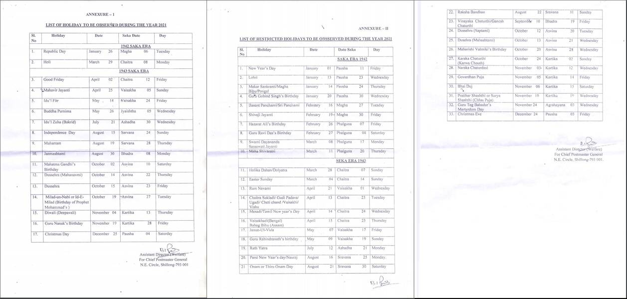 List of Holidays Year 2021 for the Offices of Central Govt located at Arunachal Pradesh: CGEWCC Shillong
