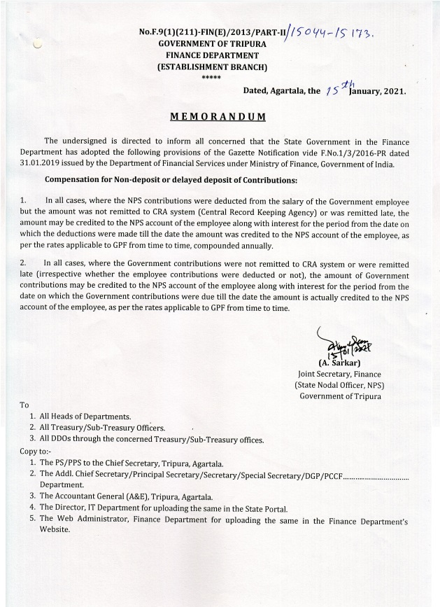 NPS – Compensation for Non-deposit or delayed deposit of Contributions