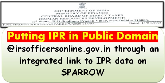 Putting IPR in Public Domain through an integrated link to IPR data on SPARROW