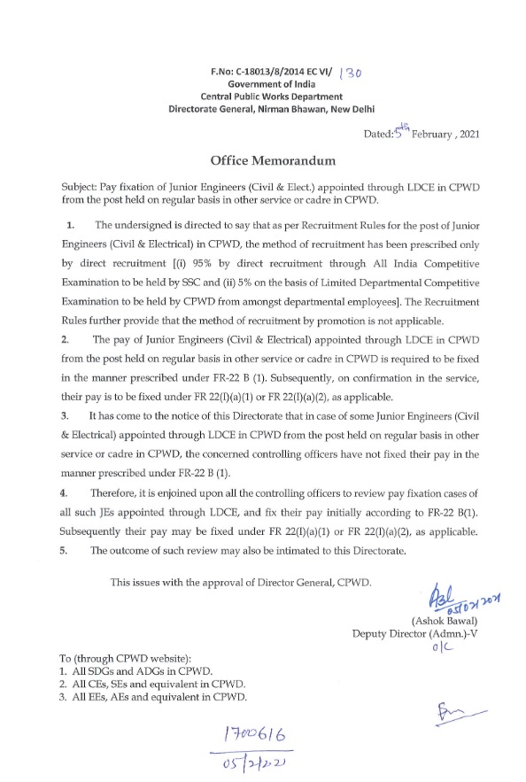 7th CPC: Pay fixation of Junior Engineers (Civil & Elect.) appointed through LDCE in CPWD