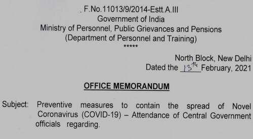 Attendance of Central Government officials – All levels on all working days without any exemption to any category of employees: DoP&T OM dated 13.02.2021