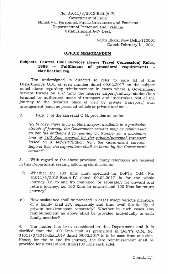 Central Civil Services (Leave Travel Concession) Rules, 1988 Fulfillment of procedural requirements clarification: DoPT OM 04.02.2021