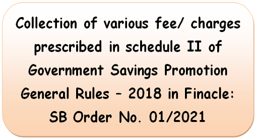 Collection of various types of fee: SB Order 01/2021 for clarification on fee for Post Office Saving Bank Cheque book