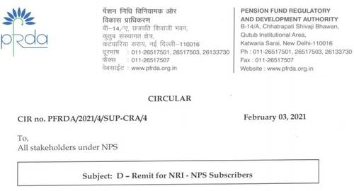 D-Remit for NRI – NPS Subscribers: PFRDA Circular 03 February, 2021