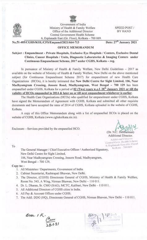 Empanelment of New Delhi Centre for Sight Limited under CGHS Kolkata w.e.f. 28th January 2021