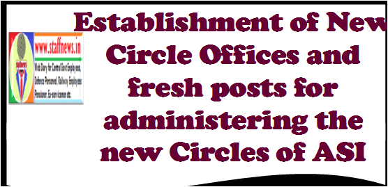 Establishment of New Circle Offices and fresh posts for administering the new Circles of ASI (Archaeological Survey of India)