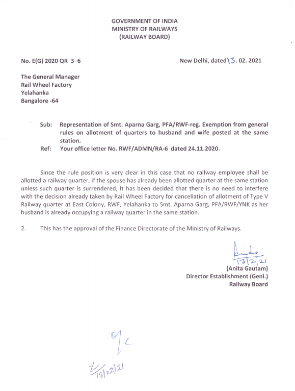 Exemption from general rules on allotment of quarters to husband and wife posted at the same station: Railway Board