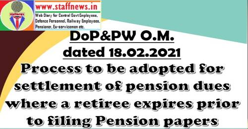 Process to be adopted for settlement of pension dues where a retiree expires prior to filing Pension papers