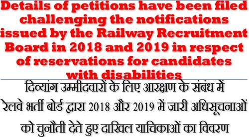 Status of Petitions filed challenging the RRB Notifications i.r.o. reservations for candidates with disabilities