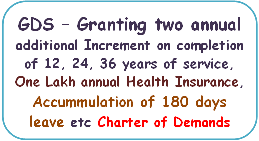 gds-granting-two-annual-additional-increment-on-completion-of-12-24-36-years-of-service-health-insurance-accummulation-of-180-days-leave-etc-charter-of-demands
